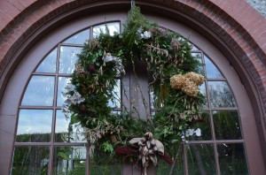 Wreath of Evergreen Boughs, Dried Hydrangea Flower and Willow